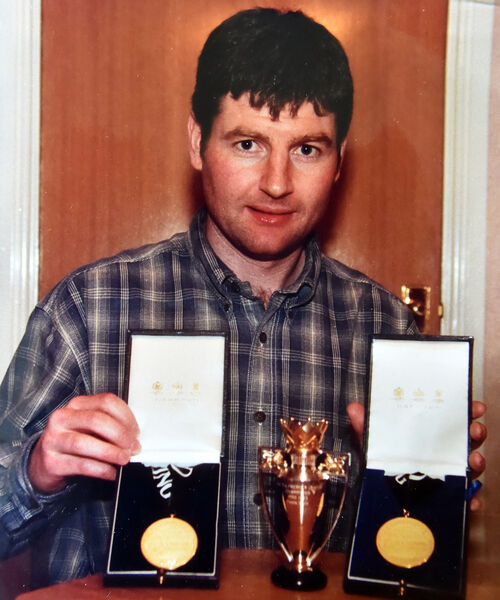 Denis Irwin with some of his trophies in Manchester. Picture: Eddie O'Hare