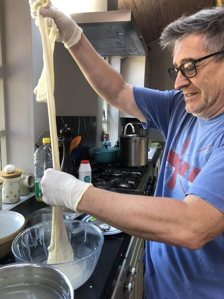 Andrew Beecham making cheese in his West Cork home.