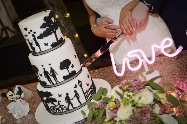 The stunning wedding cake, made by Thomas' mum, Juliana, which had a silhouette of Carrauntoohil on the side, where the couple got engaged.
