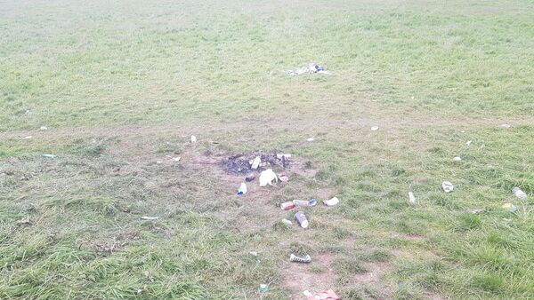 Ashes and litter left on the grounds of Mayfield United after a late night break in.
