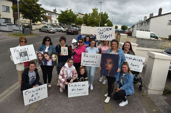 Relatives of Kimberley O'Connor killed on Harbour view earlier this year, protesting for calming measures on the Harbour View road in Knockankeeney Picture: Eddie O'Hare