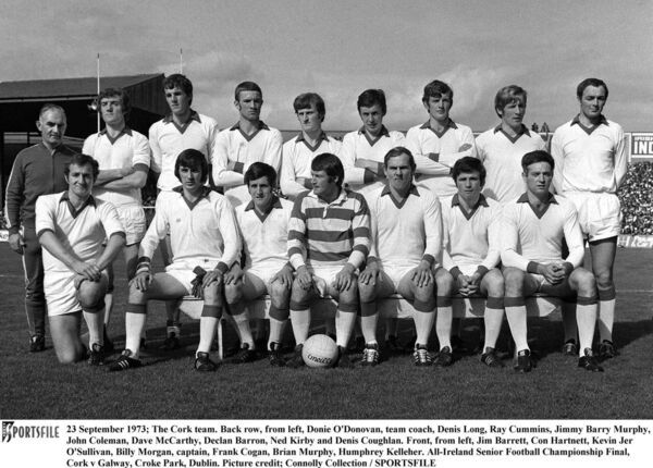 The Cork team football team of 1973, which included Kevin Jer O'Sullivan, third from left in the front row. O'Sullivan also hurled for Adrigole in the '70s. Picture: SPORTSFILE