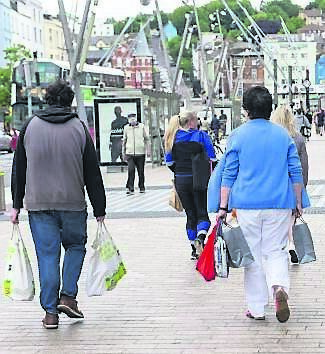 Shoppers on Patrick Street, Cork following the opening of phase two of the Covid-19 regulations. Picture Dan Linehan