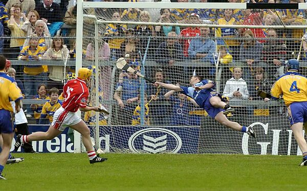 Clare keeper David Fitzgerald making an outstanding save from Cork's Joe Deane in the 2006 Munster hurling semi-final in Thurles. Picture: Dan Linehan