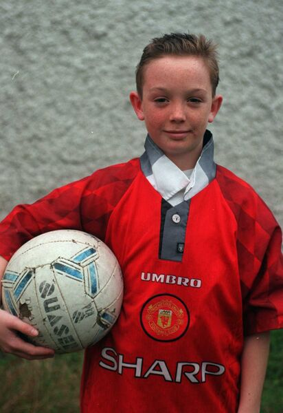 Ireland in a Man United kit as a youngster when he went to Old Trafford for the Bobby Charlton Skills Finals.