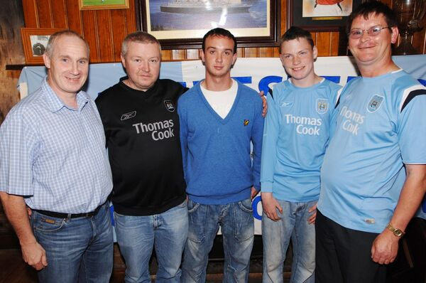 Ireland at Capwell Sports Bar with members of the Cork Manchester City Supporters Club: Joe Gill, Joe Carroll, Paul and Gary Stanton. Picture: Philip Daly
