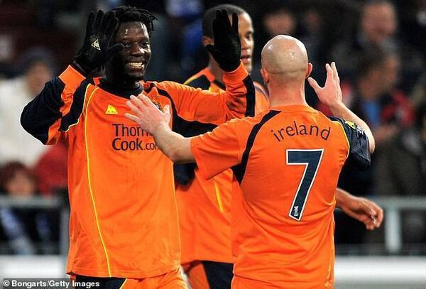 Benjani and Stephen Ireland scored for Manchester City against Schalke in the 2008 UEFA Cup. Picture: Getty Images