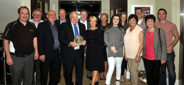 The late Tom O'Donoghue, with family members at the reception in his honour at the club, marking his contribution, as a player, to Cork's All-Ireland win in 1966. Picture: Mike English.