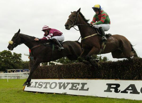 Chevaux Loco and Andrew McNamara (left) take on Permiya and jockey Johnny Allen. Picture: Denis Minihane