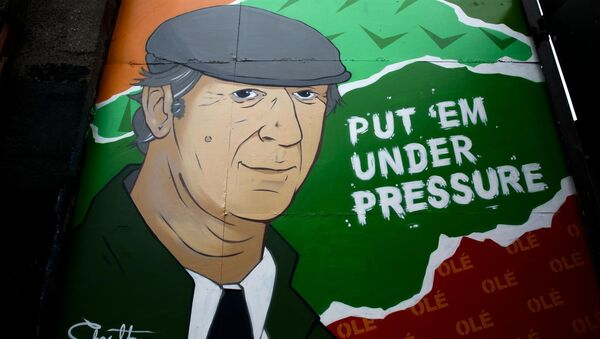 Pictured a Jack Charlton Mural on a gate of Dailymount FC Stadium , Dublin. Photo: Sam Boal/RollingNews.ie