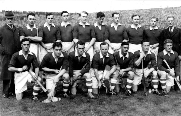 Jack Lynch (seventh from left, back row) with the Cork team before the 1946 All-Ireland final.