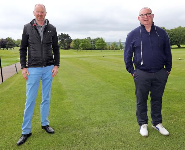 Peter Hickey, Cork Golf Club Pro, and Noel Elliot, Cork Golf Club bar manager. Picture: Jim Coughlan.