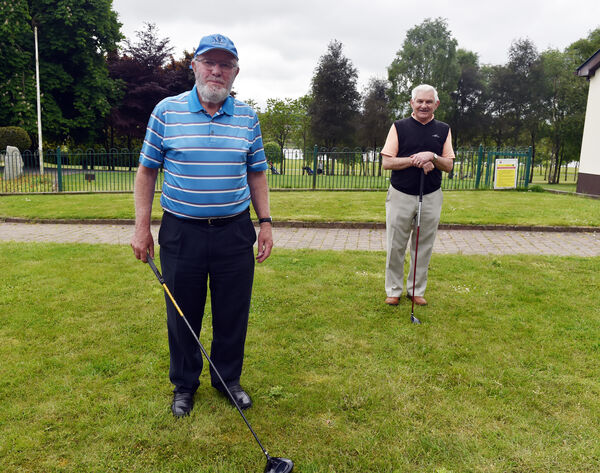 Liam Ó Huigín and Conor O'Brien in Mahon for golf's return. Picture: Eddie O'Hare