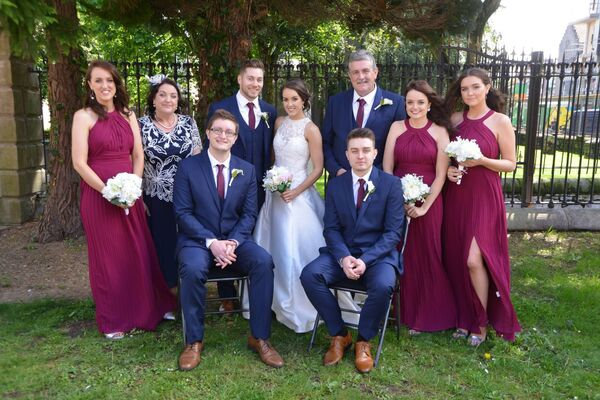 The happy couple with their bridal party.