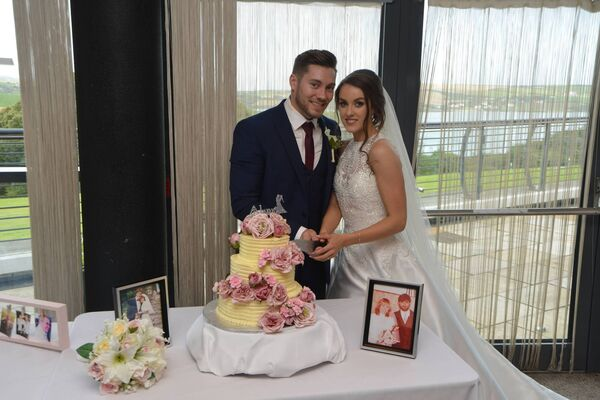 Emma O'Sullivan and Jonathan Cohen at their wedding reception in the Kinsale Hotel and Spa.