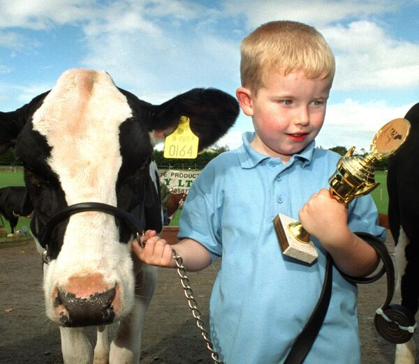 The expression of delight on the face of four year old Timmy McCarthy, Kilnamartyra when he was presented with a trophy following judging of a class for freisian calves born at Inniscarra show & old time threshing. Picture Denis Minihane.