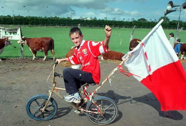 Robert Collins, Vicarstown supporting the All-Ireland hurling champions with the Cork colours at Inniscarra show & old time threshing. Picture Denis Minihane.
