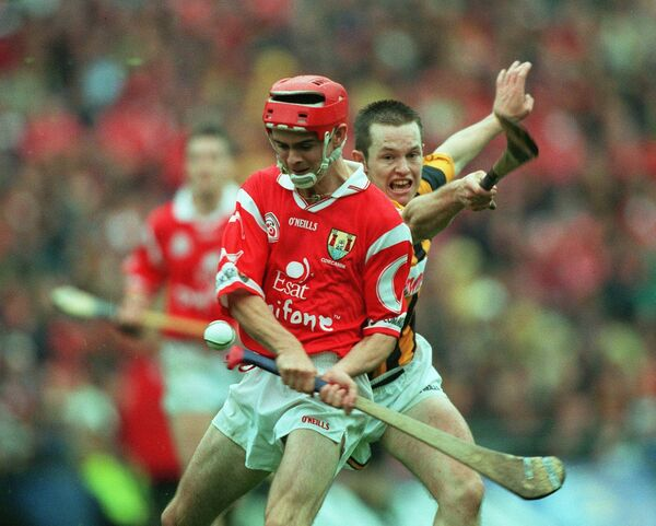 Seanie McGrath fires over a point despite the challenge of Michael Kavanagh of Kilkenny in the 1999 All-Ireland hurling final at Croke Park. Picture: INPHO/Patrick Bolger