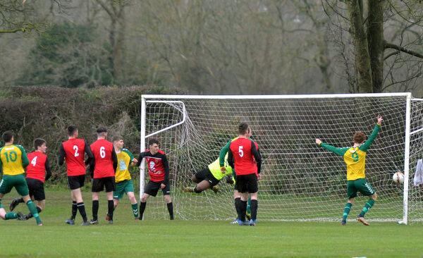 UCC keeper Arthur Nganou makes a great effort but is unable to stop Rockmount scoring in the Beamish Stout Munster Senior League Senior Premier Division game. Picture: Denis Minihane.