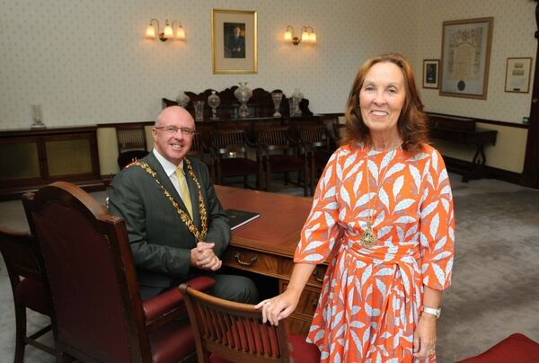 Stephanie Kavanagh, Lady Mayoress of Cork, and Cllr. Joe Kavanagh, Lord Mayor of Cork, at City Hall.Picture Denis Minihane.