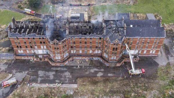Aerial shot of the damage caused by a fire at St. Kevin's derilict building on Cork's Northside. Picture Evan Shelly.
