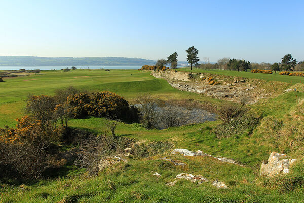 The limestone walls and Cork harbour feature prominently at Cork Golf Club. Picture: Niall O'Shea