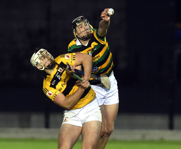 Glen Rovers' Robert Downey wins the ball from Na Piarsaigh's David Burke. Picture: Eddie O'Hare