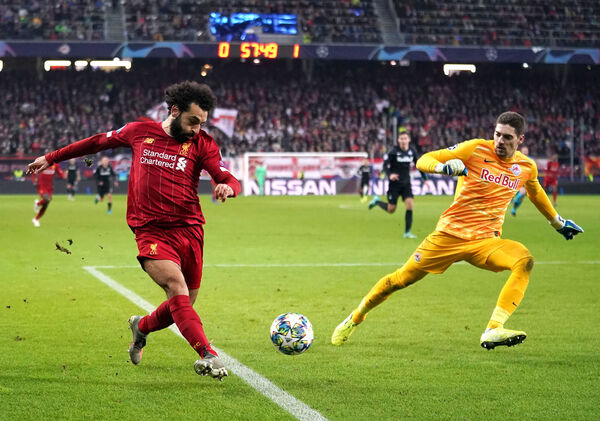 Liverpool's Mohamed Salah scores away in Salzburg during the Champions League group stages. Picture: John Walton/PA Wire