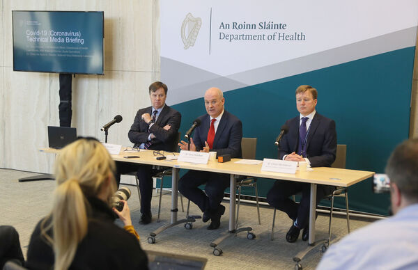 HSE National Director, Acute Operations Liam Woods, Chief Medical Officer, Department of Health Dr Tony Holohan, and Director, National Virus Reference Laboratory Dr Cillian De Gascun, during a press conference at the Department of Health yesterday where they gave an update on on Ireland's preparedness for Covid-19.
