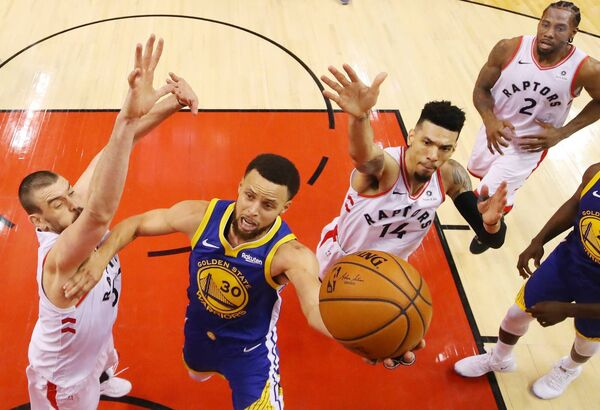 Steph Curry's Warriors take on the Raptors. Will they complete the NBA season? Picture: Gregory Shamus/Getty Images