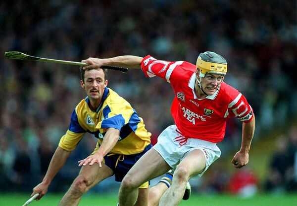 Alan Cummins of Cork in action against PJ O'Connell of Clare during 1997 Munster hurling semi-final. Picture: Ray McManus/Sportsfile