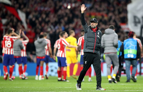 Liverpool manager Jurgen Klopp waves to the fans after the final whistle and defeat to Atletico Madrid in their UEFA Champions League round of 16 first leg match at Wanda Metropolitano, Madrid. 	 Picture: Nick Potts/PA Wire