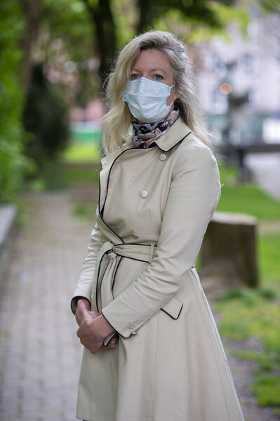 Amelia Norman wearing a mask to protect against coronavirus at the short remembrance ceremony to mark  the 34th anniversary of The Chernobyl Disaster at Bishop Lucey Park, Cork. Picture Dan LInehan