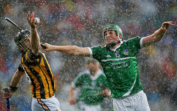 JJ Delaney of Kilkenny with Shane Dowling of Limerick. Picture: INPHO/Donall Farmer