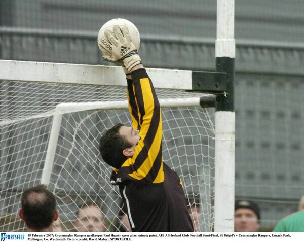 Former Crossmaglen Rangers goalkeeper Paul Hearty saves a last minute point against St Brigid's. Picture: David Maher/SPORTSFILE