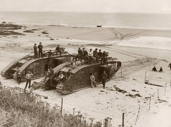 British tanks on a beach near Cork, circa 1920. Picture: FPG/Hulton Archive/Getty Images