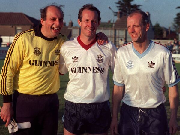 Alex Ludzic, Liam Brady and Miah Dennehy pictured at the Cork City v Cobh Ramblers Alex Ludzic Testimonial in 1990. Picture: Eddie O'Hare.