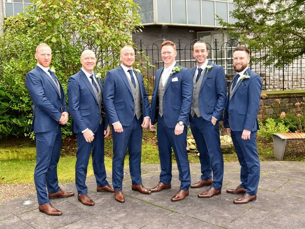 Patrick O'Sullivan with his bestman and groomsmen.