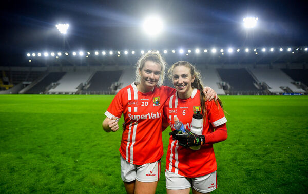 Saoirse Noonan and Ashling Hutchings of Cork celebrate a win at Páirc Ui Chaoimh. Picture: David Fitzgerald/Sportsfile