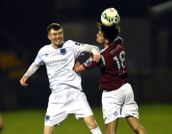 Cobh Ramblers' Martin Coughlan gets ahead of Drogheda United's Mark Doyle. Picture: Eddie O'Hare