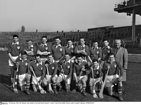 The Munster team ahead of the Railway Cup semi-final against Ulster, including Jimmy Doyle. The squad was: M Cashman, J Brohan, M Maher, John Doyle, T McGarry, A Wall, J Byrne, PJ Keane, J Condon, Jimmy Doyle, D Nealon, J Smith, Christy Ring, L Devaney, T English, F Walsh, T Cheasty. Picture: Connolly Collection/SPORTSFILE