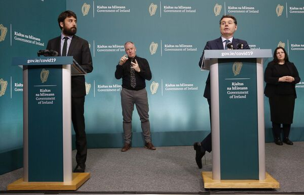Minister for Housing Planning and Local Government, Eoghan Murphy, and Minister for Finance, Public Expenditure and Reform, Paschal Donohoe, speaking at the briefing in Government Buildings. Photograph: Leon Farrell/Photocall Ireland