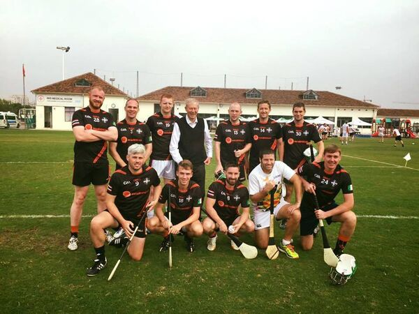 Shane O'Mahony lining up with the Thailand hurling team. Shane is the first person on the far left in the front row.