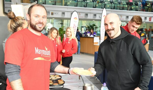 Boxer Gary 'Spike' O'Sullivan getting his pancake from Wayne Falvey, Mardyke Arena, at a fundraiser in aid of Marymount. Picture: David Keane.
