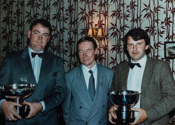Glounthaune's Luke McCarthy and Dromtarriffe's James O'Brien were the first Cork crew to win the National Navigation Rally Championship. They won the title in 1989/1990 and are pictured with the late Peter Jenkins, RIAC.