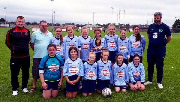 The Bantry Bay Rovers and Drinagh Rangers West Cork Schoolgirls squad (including Donal McGrath, back row, far right) that competed in the 2019 Rose Bowl one-day soccer tournament at Mounthawk Park in Tralee.