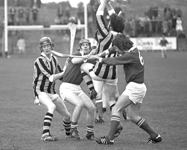 Tom Cashman clearing from Ger Tyrell, Kilkenny, in the 1977 U21 clash.