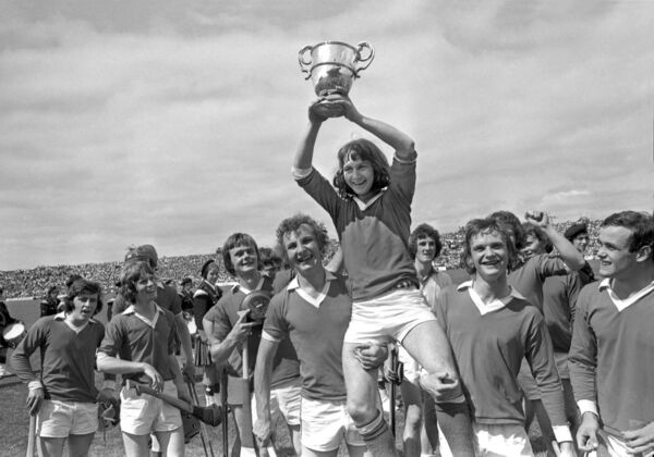 Tom Cashman lifting the minor title after beating Tipp in 1975.