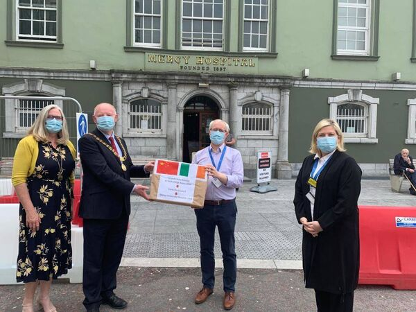 A donation of facemasks by Lord Mayor John Sheehan to staff at the Mercy Hospital.