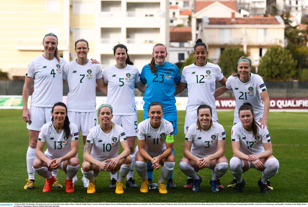 The Republic of Ireland team, top row, from left, Louise Quinn, Diane Caldwell, Niamh Fahey, Courtney Brosnan, Rianna Jarrett and Ruesha Littlejohn. Bottom row, from left, Áine O'Gorman, Denise O'Sullivan, Katie McCabe, Harriet Scott and Clare Shine. Picture: Stephen McCarthy/Sportsfile